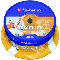 VERBATIM DVD-R 4,7GB 16X25PCS PRINTABLE CB 43538