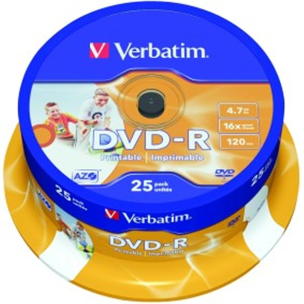 picture about Verbatim Printable Dvd R known as VERBATIM DVD-R 4,7GB 16X25Computers PRINTABLE CB 43538