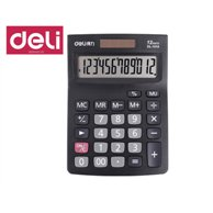 DELI CALCULATOR METAL 12 DIGITS 2WAY POWER 14,6X10,3X3,2CM