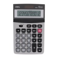 DELI CALCULATOR 12DIGITS METAL 2WAY POWER 16.6X10X3CM