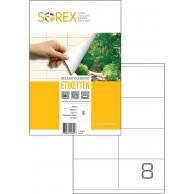 SOREX LABELS A4 2X4 105X74 100SH WHITE