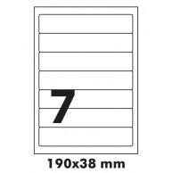 SOREX LABELS A4 7/SHEET 190X38 100SH WHITE