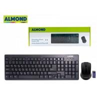 ALMOND KEYBOARD & MOUSE WIRELESS SET USB BK