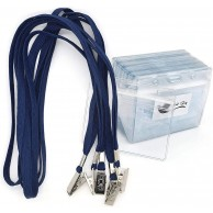 NAME CARD CORD BLUE WITH METALIC CLIP