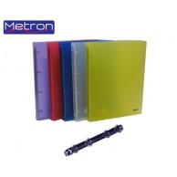 METRON A4 PP 4-RING BINDER 4CM CLEAR