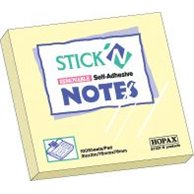 STICK'N 76X76MM 100 SH/PAD YELLOW