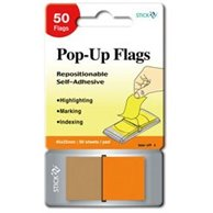 STICK'N POP-UP FLAGS 45X25MM  ORANGE