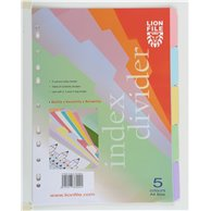 LION PAPER INDEX 5 CLRS TAB